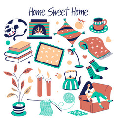 Sweet home furniture and house decor isolated vector