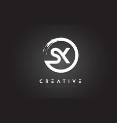 sx circular letter logo with circle brush design vector image