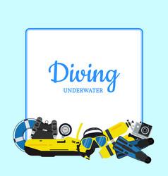 underwater diving elements vector image