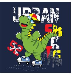 Urban dino skater art vector