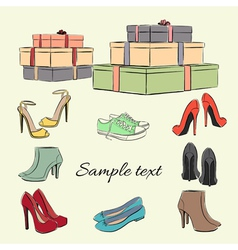 Various fashionable color shoes and boxes vector