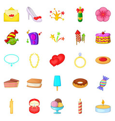 Venue icons set cartoon style vector
