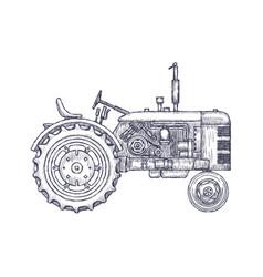 Vintage agricultural tractor sketch hand drawn vector
