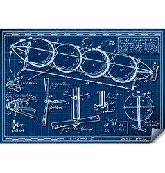 Vintage Kids Plane Project on Blueprint vector image