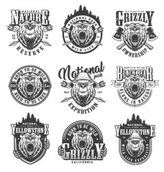 vintage monochrome national park emblems vector image