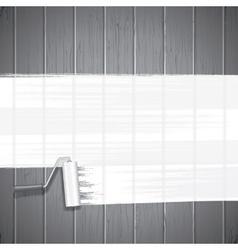 white paint roller on planks background vector image