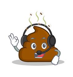 With headphone poop emoticon character cartoon vector