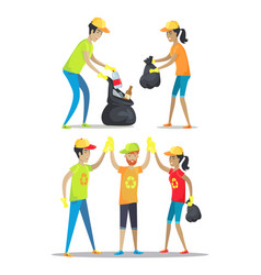 Woman and men happily working vector
