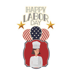 Woman cook celebrating labor day avatar vector