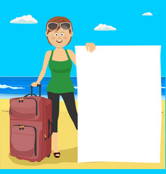 Young woman at beach with suitcase and blank board vector