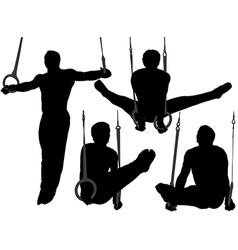 Gymnastics Rings Silhouette vector image