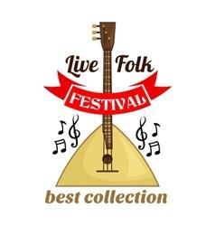 Live folk music festival emblem vector image