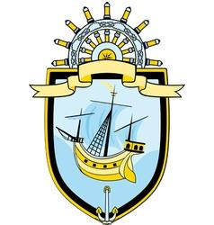 Marine emblem ship steering wheel vector image