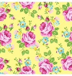 Seamless floral pattern with pink roses on a dark vector image