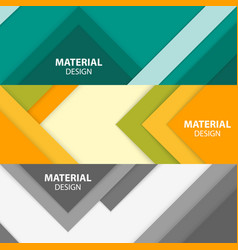 set of three horizontal material design banners vector image