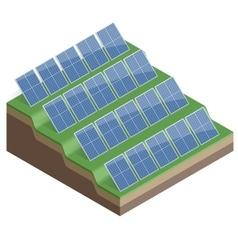 Solar panels isolated on white background flat 3d vector