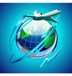 airplain in front of the globe vector image vector image