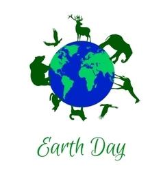 Animals around planet Earth vector image