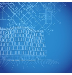 blueprint background with building plans vector image