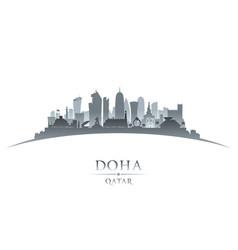 Doha qatar city skyline silhouette white vector