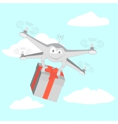 Drone delivers funny gifts vector image vector image