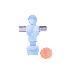Foosball player and ball Watercolor object on the vector image