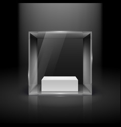 glass showcase in cube form with spot light for vector image