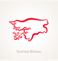 outline map of guinea-bissau marked with red line vector image