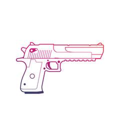 pistol outline over white handgun powerful gun vector image vector image