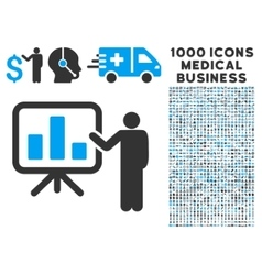 Presentation Icon with 1000 Medical Business vector image