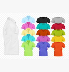 realistic men t-shirt set full editable vector image