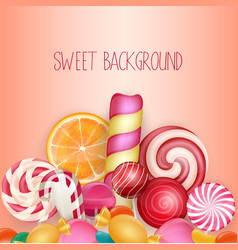 sweet background with lolipop ice cream vector image