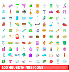 100 house things icons set cartoon style vector