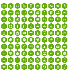 100 summer icons hexagon green vector