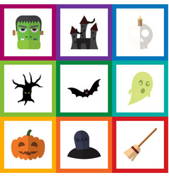 flat icon celebrate set of terrible halloween vector image vector image