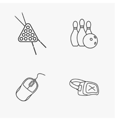 four flat game icons vector image