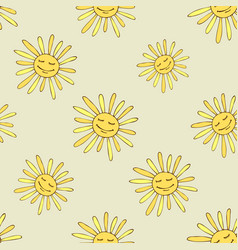 pattern with happy sun vector image vector image