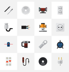 set of 16 editable electric flat icons includes vector image