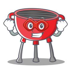 Super hero barbecue grill cartoon character vector