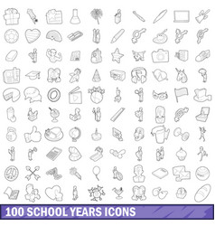 100 school years icons set outline style vector