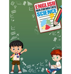 Boys and school objects on border vector image