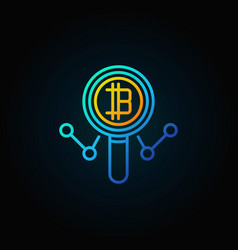 colorful cryptocurrency in magnifying glass vector image vector image