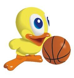 Duck with basketball ball vector