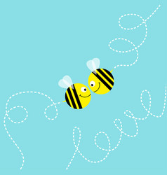 flying bee kissing couple in the sky cute cartoon vector image vector image