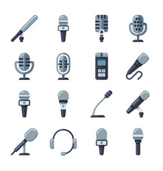 microphone dictaphone interview digital recorder vector image