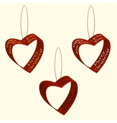 Spruce decorations of hearts ribbons christmas and vector