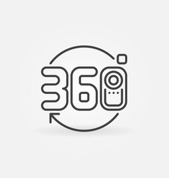 360 camera icon in thin line style vector