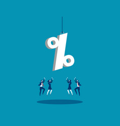 A business team reaching for percentage sign vector