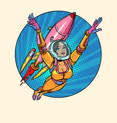 A girl astronaut is flying with space rocket vector