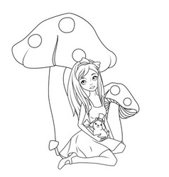 alice in front mushroom holding rabbit wearing vector image